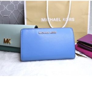 NWT Michael Kors Jet Set French Blue Bifold Wallet